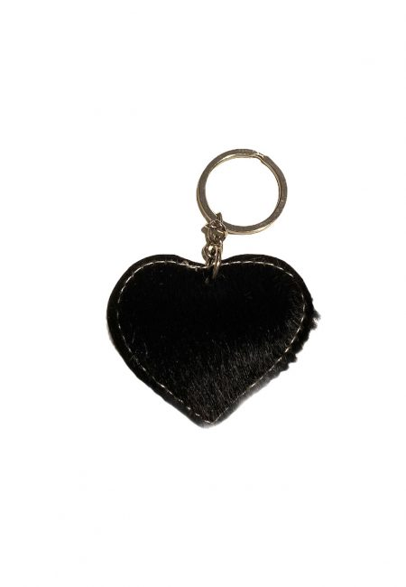 Zilverkleurige sleutelhanger met harig hartje