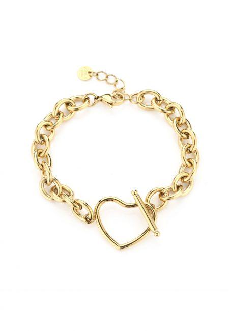 Goudkleurig armbandje statement met hart