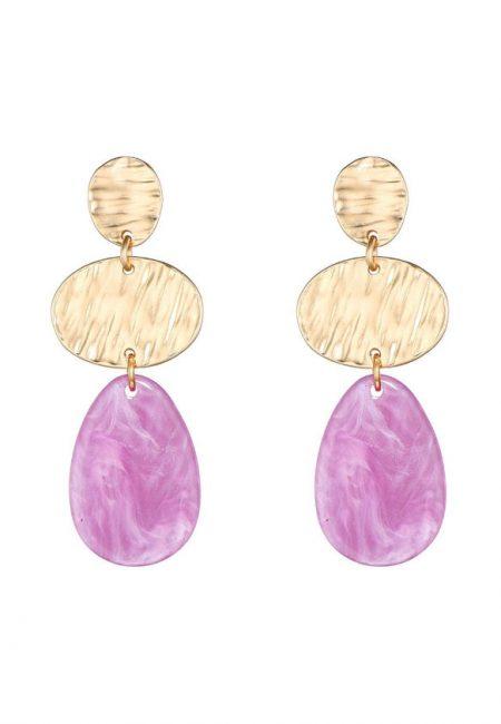 Goudkleurige oorbellen met paarse steen