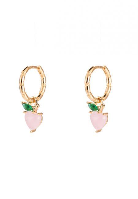 Goudkleurige oorbelletjes roze