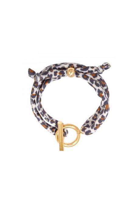 Leopard armband wit bruin zwart