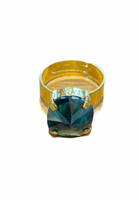 Verstelbare goudkleurige ring met gekleurde steen