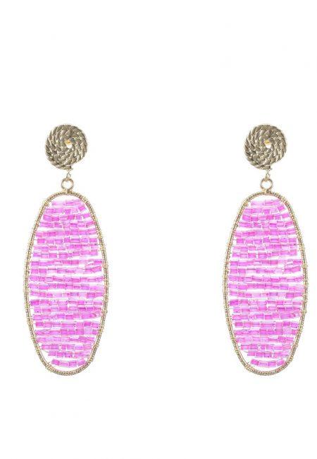 Goudkleurige oorbellen met roze kralen
