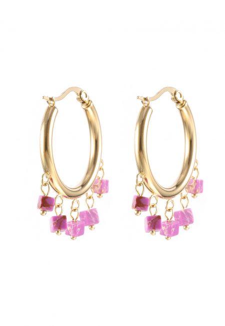 Goudkleurige creolen met paarse steentjes