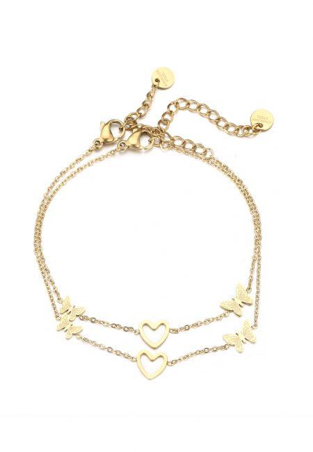 Goudkleurige armbandje met hartjes
