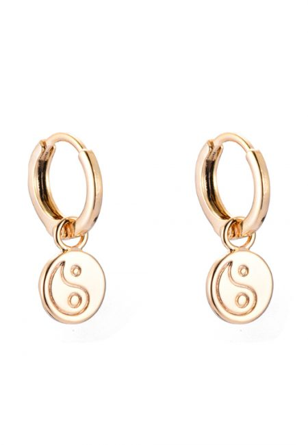 Kleine goudkleurige oorbellen Yin Yang