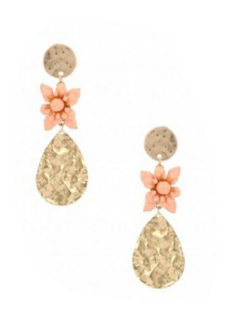 Goudkleurige druppel oorbellen met bloemetje