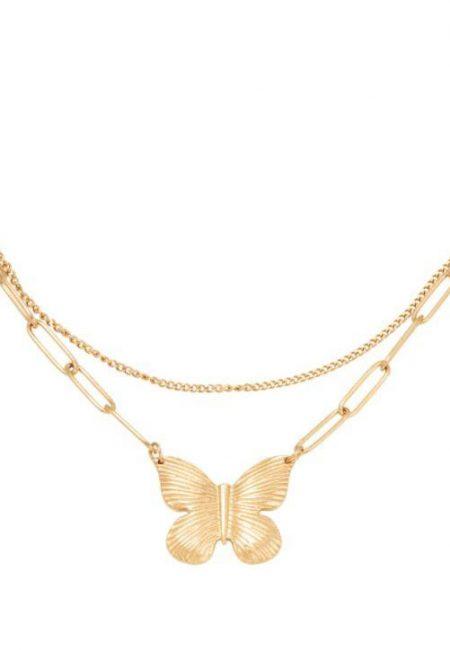Butterfly ketting goudkleur