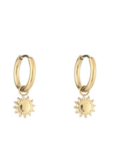 Kleine goudkleurige oorbellen met zonnetjes