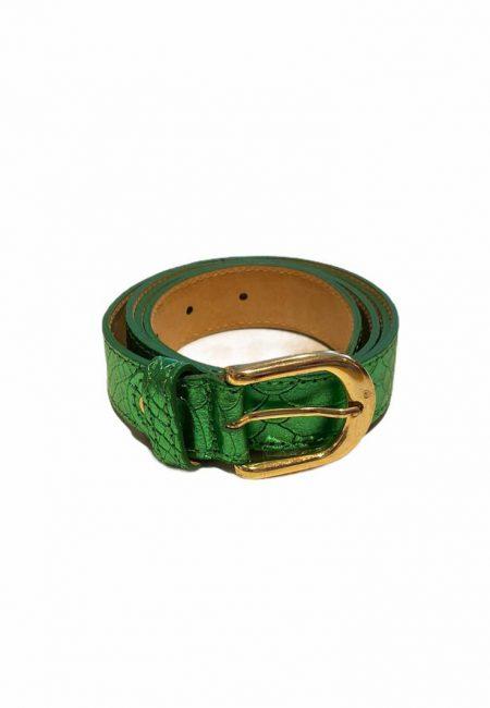 Metallic groen leren riem