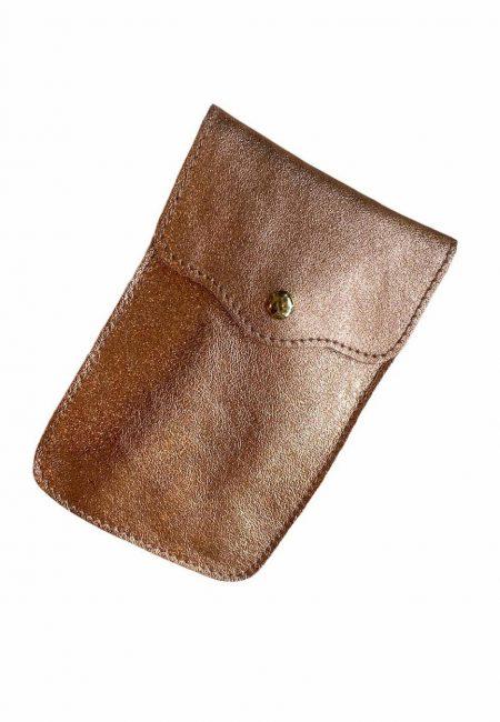 bronskleurig metallic phone bag