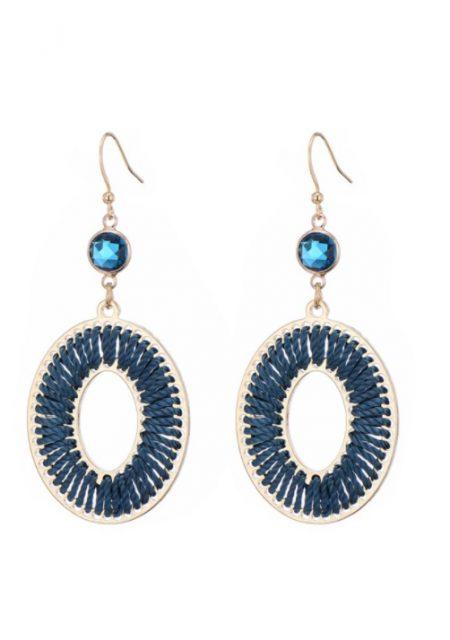 Blauwe velvetlook oorbellen
