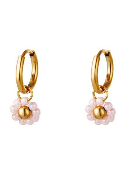 Goudkleurig kleine oorbelletjes met roze bloemetjes