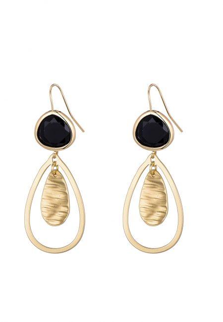 Druppel oorbellen zwart/goud