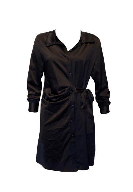 Zwart satijnen blouse/jurkje