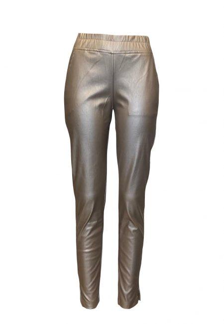 Goud metallic leerlook pants
