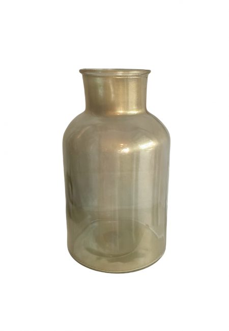 Kleine goudkleurige glazen melkfles vaas
