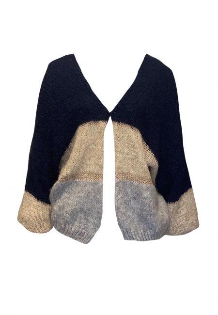 Oversized gestreept vest met lurex
