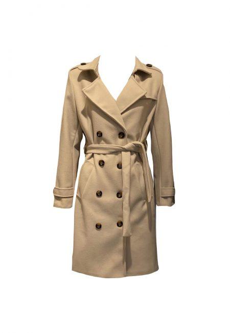Zandkleurige wollige trench coat